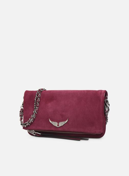 Clutch bags Zadig & Voltaire ROCK SUEDE PATE Purple model view