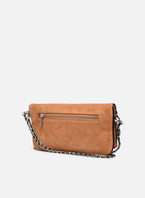 Clutch bags Zadig & Voltaire ROCK SUEDE PATE Brown view from the right