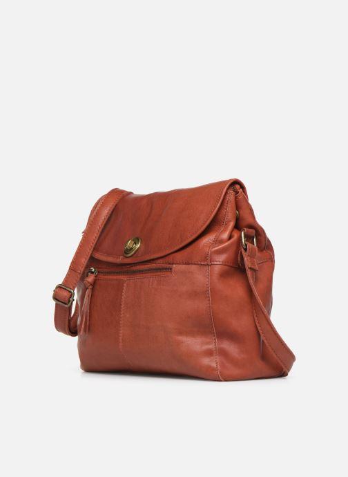 Borse Pieces Coco Leather Crossbody Rosso modello indossato
