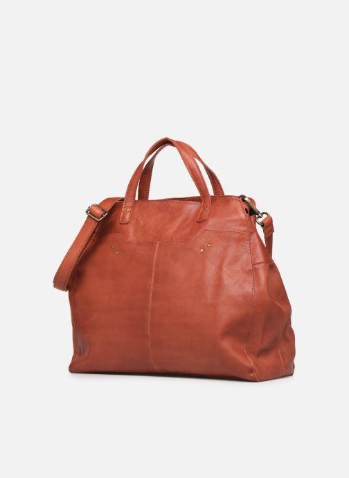 Borse Pieces Cora Leather Daily Bag Rosso modello indossato