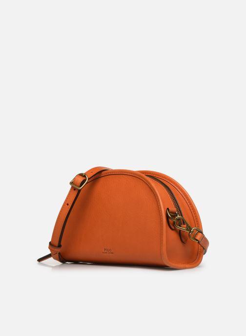 Sacs à main Polo Ralph Lauren HALF MOON Orange vue portées chaussures
