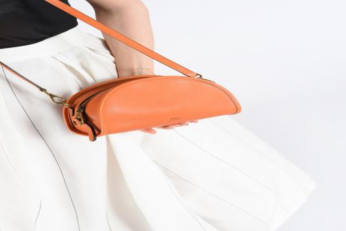 Handbags Polo Ralph Lauren HALF MOON Orange view from underneath / model view