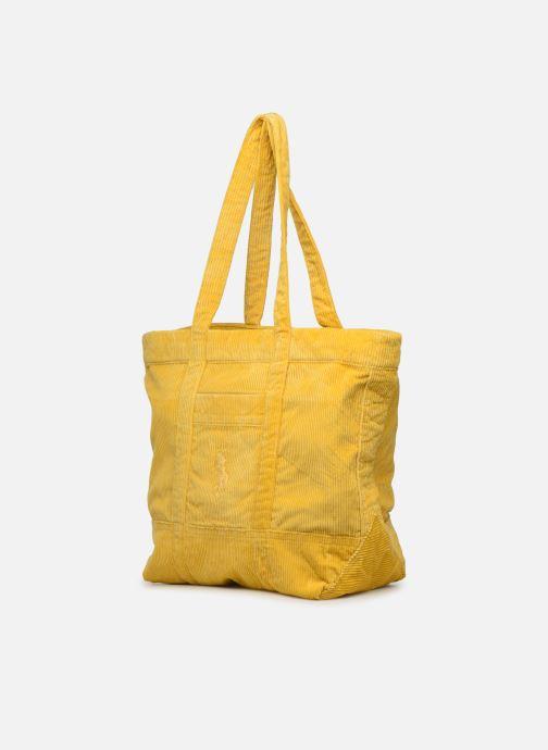 Bolsos de mano Polo Ralph Lauren PP TOTE CORDUROY Amarillo vista del modelo