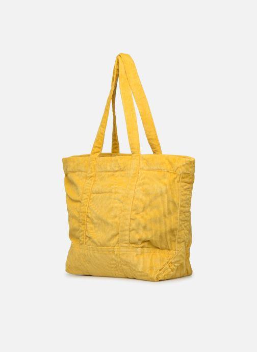 Bolsos de mano Polo Ralph Lauren PP TOTE CORDUROY Amarillo vista lateral derecha