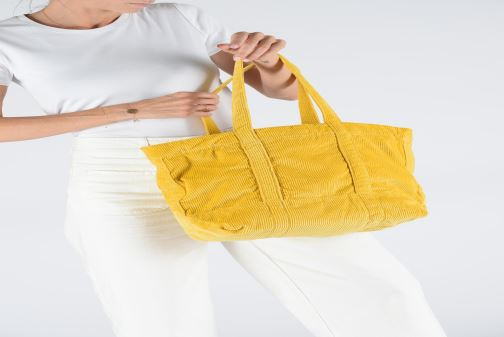 Handbags Polo Ralph Lauren PP TOTE CORDUROY Yellow view from underneath / model view