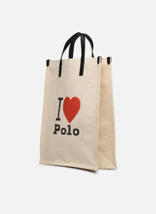 Borse Polo Ralph Lauren SHOPPER TOTE Bianco modello indossato