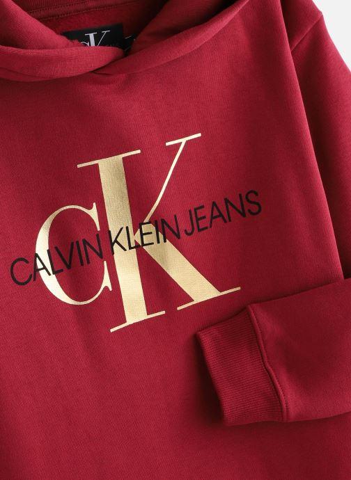 Vêtements Calvin Klein Hooded Monogram Sweatshirt Dress Bordeaux vue portées chaussures