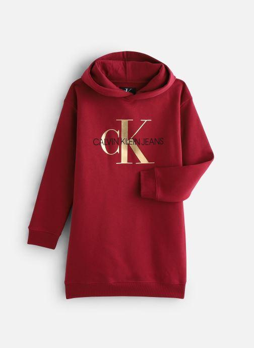 Vêtements Calvin Klein Hooded Monogram Sweatshirt Dress Bordeaux vue détail/paire