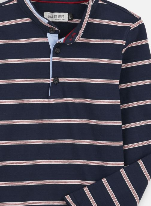 Vêtements Jean Bourget Polo Rayé en coton interlock Bleu vue portées chaussures