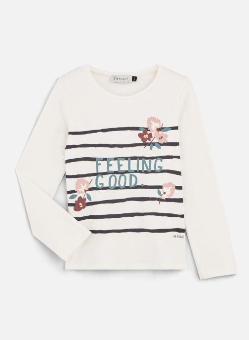 """Vêtements Jean Bourget T-Shirt """"Feeling Good"""" Blanc à rayure Blanc vue détail/paire"""
