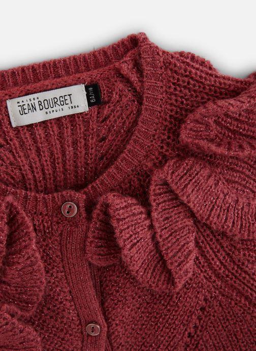 Vêtements Jean Bourget Cardigan Tricot en mohair Céladon - Col à volants Rouge vue portées chaussures