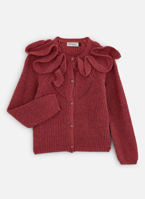 Vêtements Jean Bourget Cardigan Tricot en mohair Céladon - Col à volants Rouge vue détail/paire