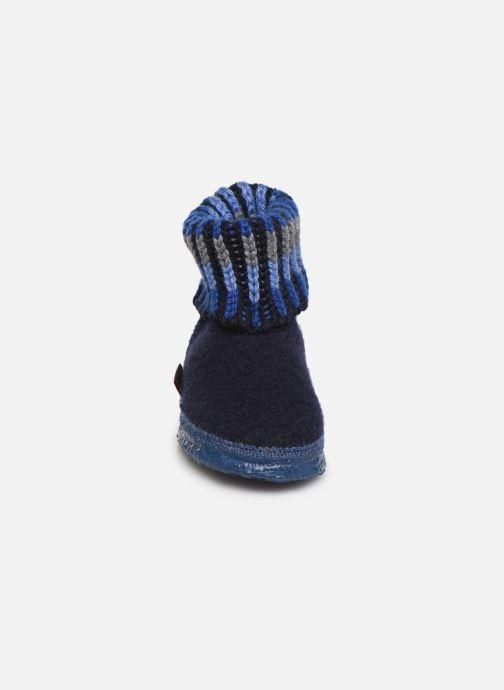 Hausschuhe Giesswein Kronau blau schuhe getragen