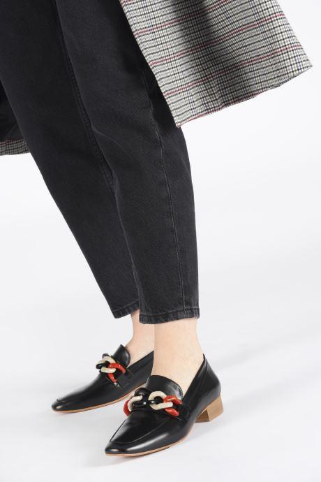 Slipper Made by SARENZA Retro Dandy Mocassin #3 schwarz ansicht von unten / tasche getragen