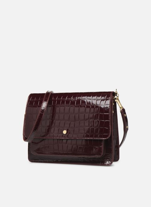 Bolsos de mano Petite mendigote Sac Charles Patent leather croco Vino vista del modelo