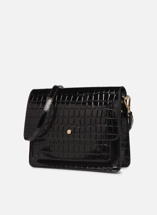 Handbags Petite mendigote Sac Charles Patent leather croco Black model view