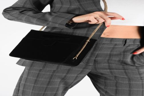 Handbags Petite mendigote Sac GAEL velvet Black view from underneath / model view