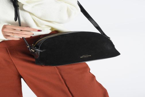 Sacs à main Petite mendigote Sac Lunch Cow nappa & patent leather Noir vue bas / vue portée sac