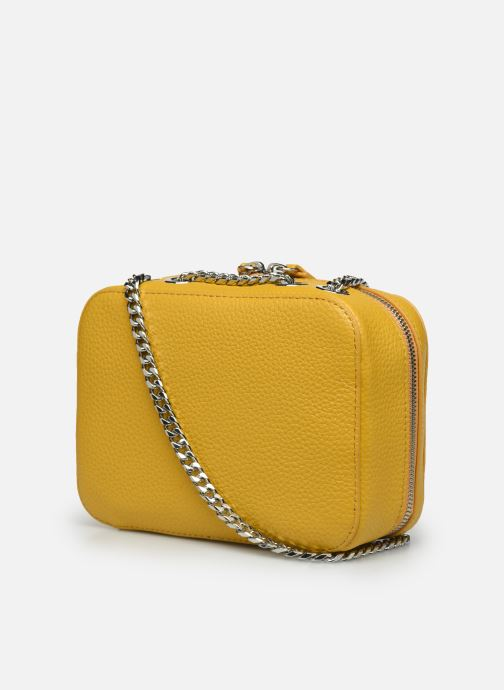 Handbags Lacoste CROCO CREW CUIR  CROSSOVER BAG Yellow view from the right
