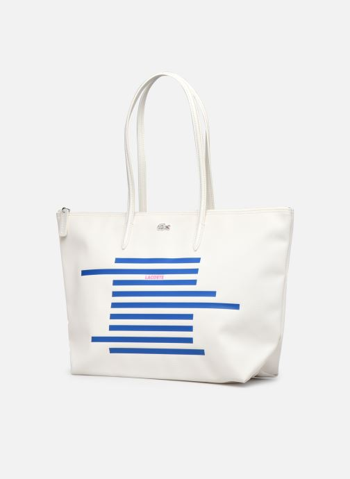 Bolsos de mano Lacoste L.12.12 Concept Seasonal L Shopping Bag Blanco vista del modelo
