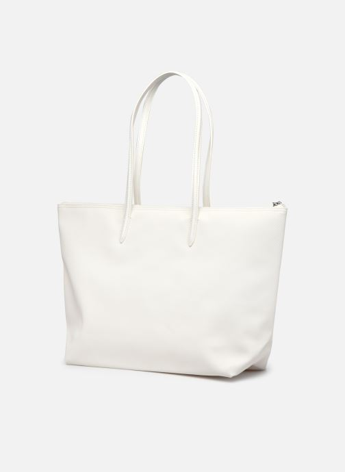 Bolsos de mano Lacoste L.12.12 Concept Seasonal L Shopping Bag Blanco vista lateral derecha