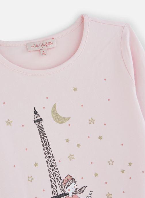 """Vêtements Lili Gaufrette T-Shirt """"Tour Eiffel"""" Rose Lili Rose vue portées chaussures"""