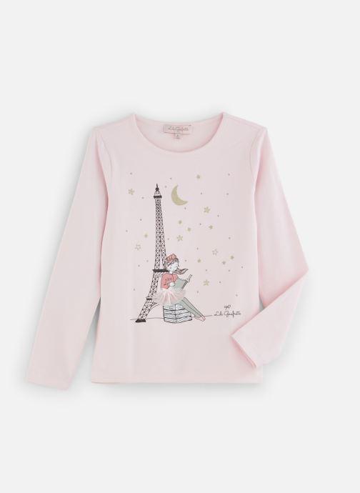 """Vêtements Lili Gaufrette T-Shirt """"Tour Eiffel"""" Rose Lili Rose vue détail/paire"""