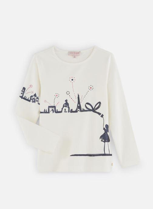 """Vêtements Lili Gaufrette T-Shirt """"Paris"""" Blanc Nacre Blanc vue détail/paire"""