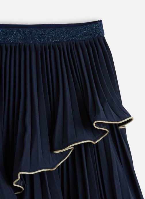 Vêtements Lili Gaufrette Jupe Cérémonie Marine à volant asymétrique Bleu vue portées chaussures