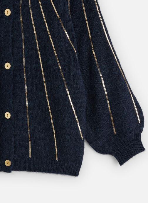 Vêtements Lili Gaufrette Gilet Tricot Bleu Marine à sequins dorés Bleu vue portées chaussures