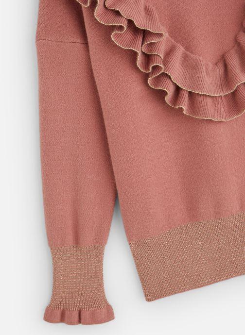 Vêtements Lili Gaufrette Pull Col volants Vieux Rose Rose vue portées chaussures