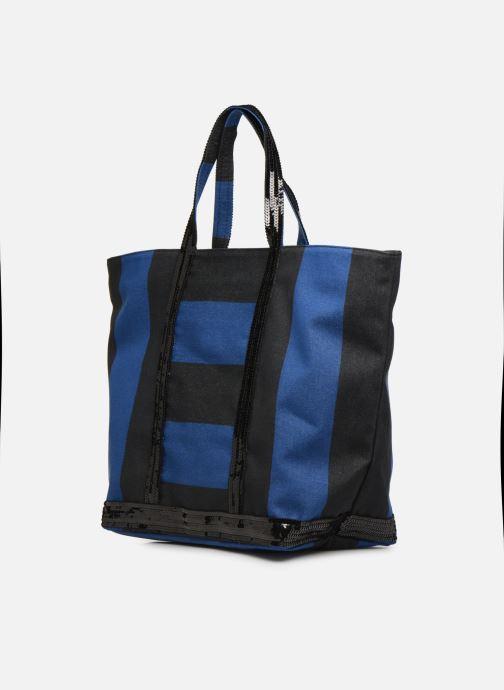 Bolsos de mano Vanessa Bruno Cabas Rayure Azul vista lateral derecha