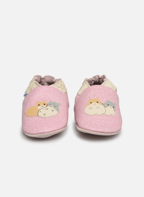 Pantofole Robeez Hamster Family Rosa modello indossato