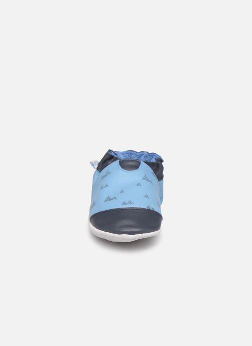 Hausschuhe Robeez Mountains blau schuhe getragen