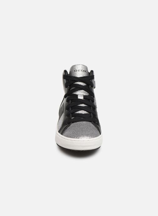 Sneakers Geox J Kalispera Girl J944GP Argento modello indossato