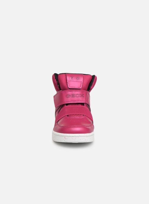 Baskets Geox J Xled Girl J848DA Rose vue portées chaussures