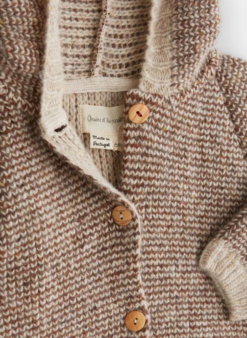 Vêtements Arsène et les Pipelettes Manteau  double maille tricoté oreilles Marron vue portées chaussures