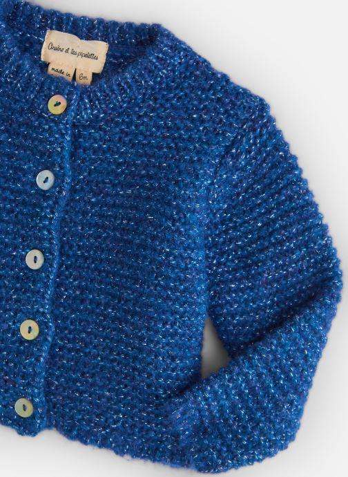 Vêtements Arsène et les Pipelettes Gilet Lurex Bébé Bleu vue portées chaussures