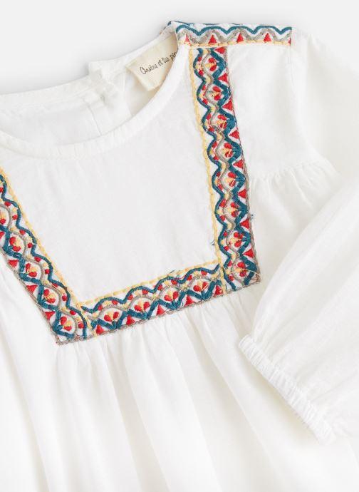 Vêtements Arsène et les Pipelettes Blouse plastron brodé Blanc vue portées chaussures