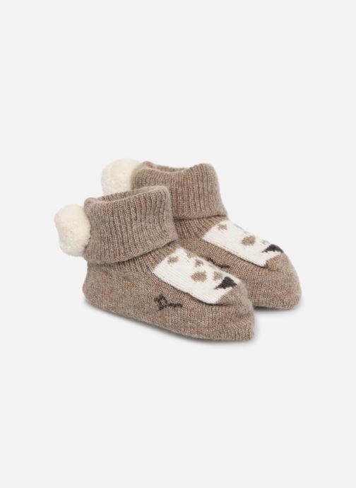 Socks & tights Arsène et les Pipelettes Chaussons tricotés Daim Brown detailed view/ Pair view