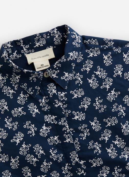 Vêtements Arsène et les Pipelettes Robe à col en coton imprimé Fleurs Bleu vue portées chaussures