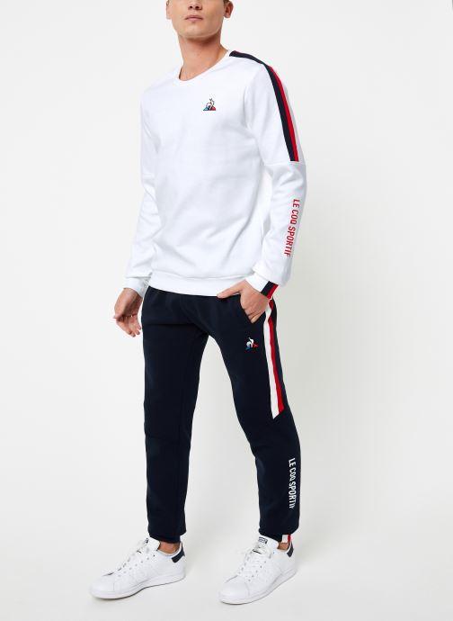 Vêtements Le Coq Sportif TRI Crew Sweat N°3 M Blanc vue bas / vue portée sac