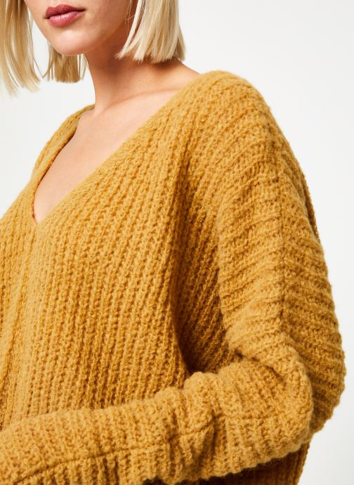 Vêtements Free People MOONBEAM V PULLOVER Jaune vue face