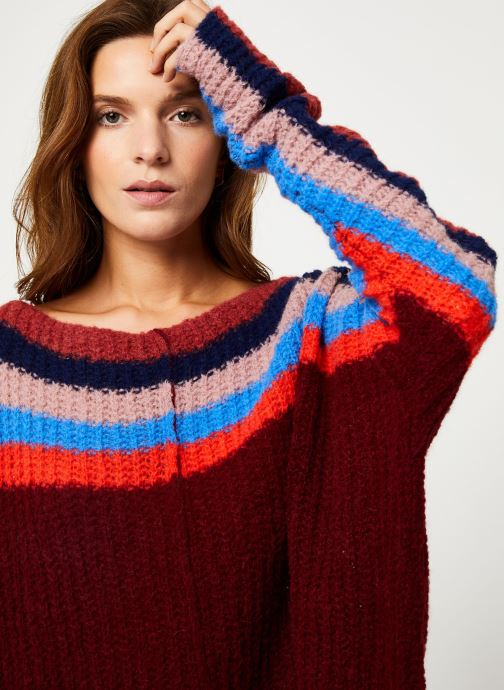 Vêtements Free People SEE THE RAINBOW SWEATER Bordeaux vue face