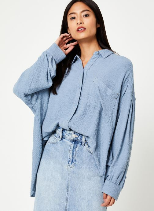 Vêtements Free People SOLID HIDDEN VALLEY BUTTONDOWN Bleu vue droite