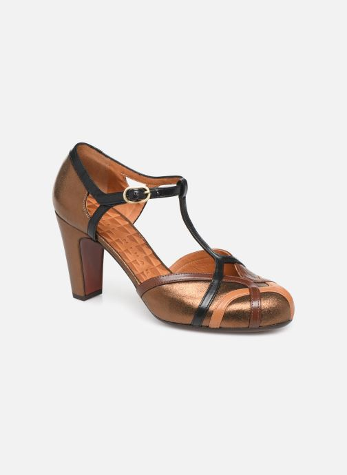 Høje hæle Chie Mihara Korea Guld og bronze detaljeret billede af skoene