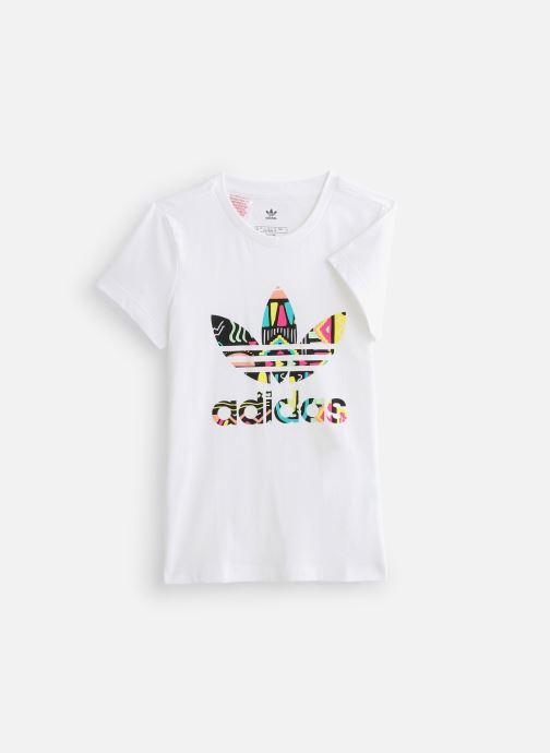 Vêtements adidas originals Slim Tee J Blanc vue détail/paire