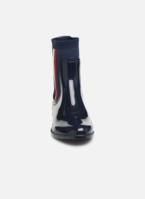 Bottines et boots Tommy Hilfiger KNITTED RAIN BOOT Bleu vue portées chaussures