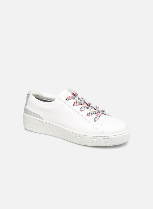 Baskets Tommy Hilfiger GLITTER DETAIL DRESS SNEAKER Blanc vue détail/paire