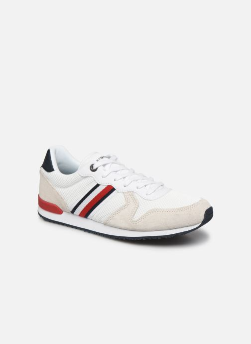 Baskets Tommy Hilfiger ICONIC MATERIAL MIX RUNNER Blanc vue détail/paire